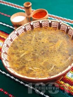 Лесна супа от коприва с домати, моркови, фиде и ориз - снимка на рецептата